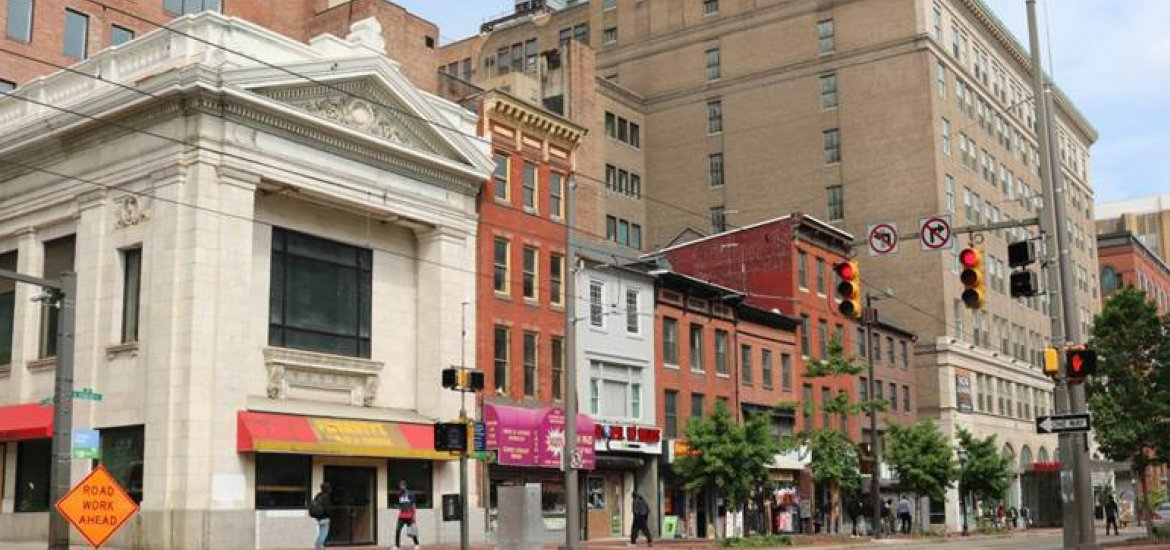 Streetscape within proposed Five and Dime Historic District