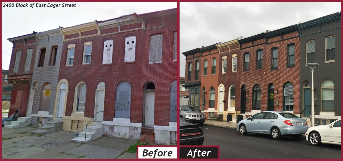 Before and after photo of renovated rowhouses